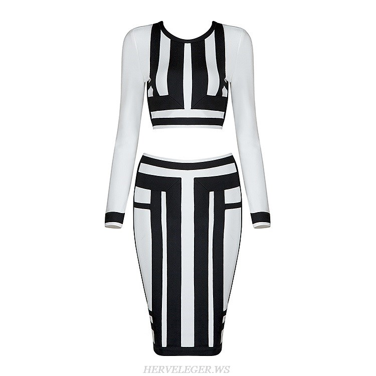 Herve Leger Black And White Colorblock Two Pieces Bandage Dress