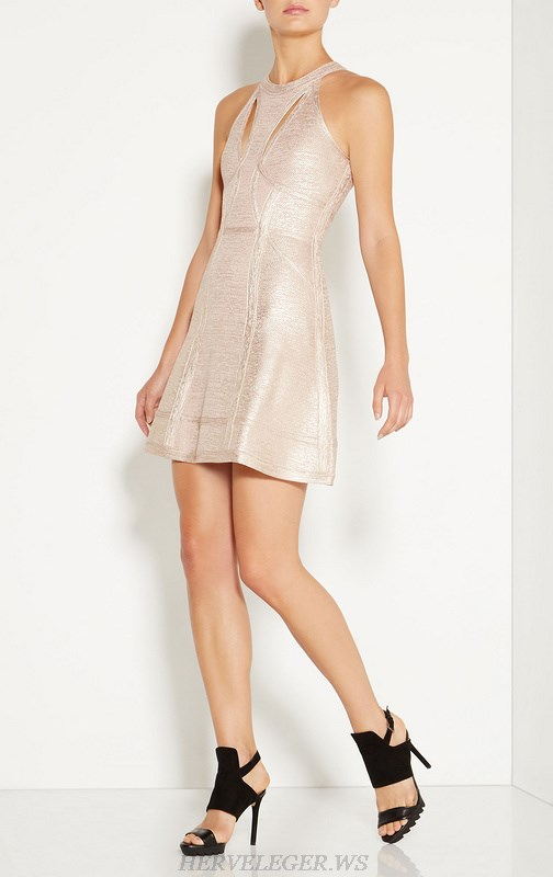 Herve Leger Gold Bronzing Cutout A Line Dress