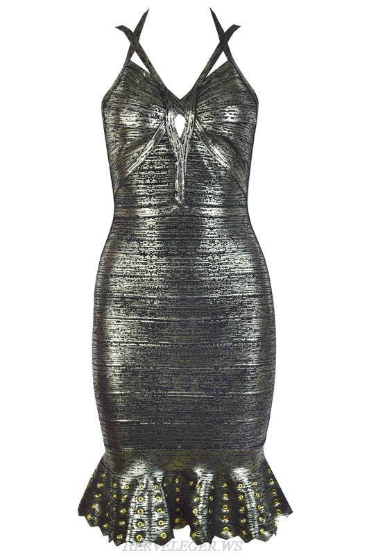 Herve Leger Silver And Black Gold Multicolor V Neck Cocktail Dress