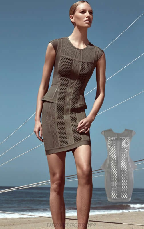 Herve Leger Grey And Brown Multicolor Jacquard Weave Bandage Dress