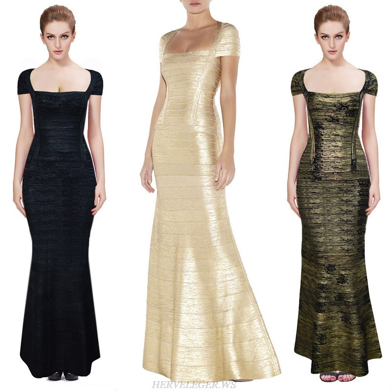 Herve Leger Black And Gold Multi Color Bronzing Bandage Gown