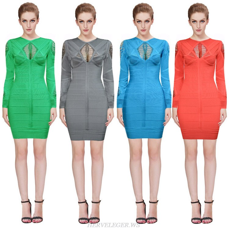Herve Leger Green Gray Blue And Red Multicolor Long Sleeve Cutout Bandage Dress