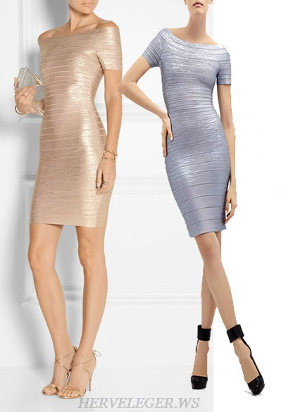 Herve Leger Gold And Grey Multi Color Bronzing Bandage Dress