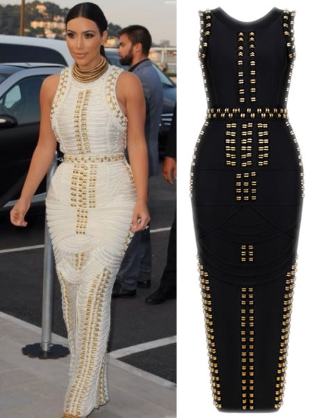 Herve Leger Kim Kardashian Black And White Bandage Gown