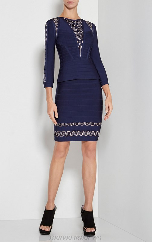 Herve Leger Blue Jacquard Weave Long Sleeve Dress