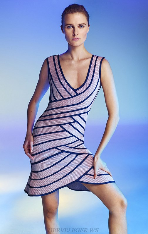 Herve Leger Nude And Blue Colorblock Jacquard V Neck Dress