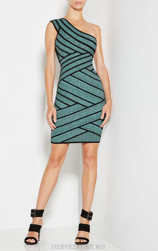 Herve Leger Blue One Shoulder Straps Bandage Dress