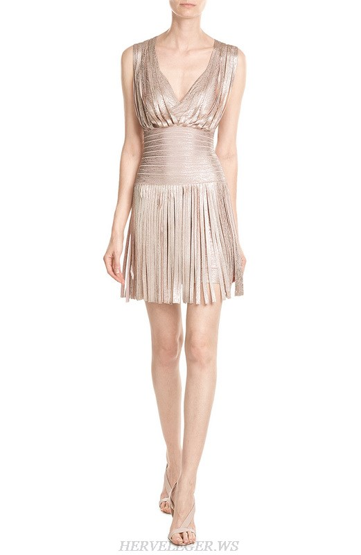 Herve Leger Gold Bronzing V Neck Fringe A Line Dress
