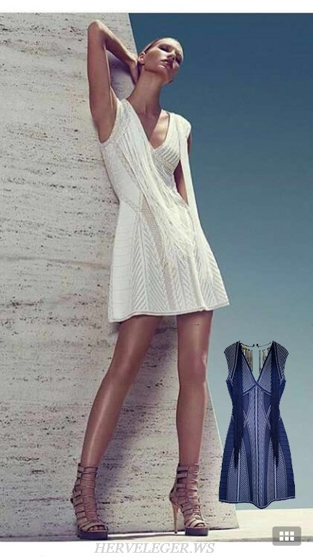 Herve Leger White And Blue Multicolor V Neck Fringe A Line Dress