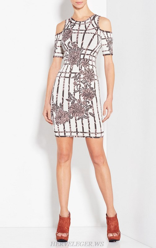 Herve Leger White And Brown Art Jacquard Dress