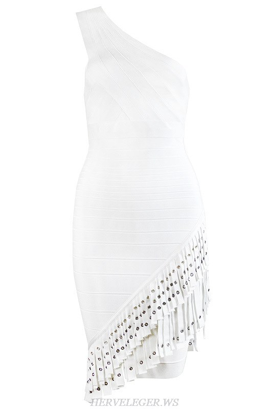 Herve Leger White One Shoulder Fringe Dress