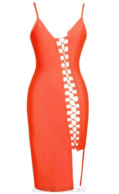Herve Leger Orange Asymmetrical Lace Up Slit Dress