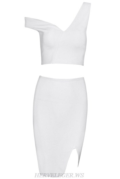 Herve Leger White Asymmetrical Two Piece Dress