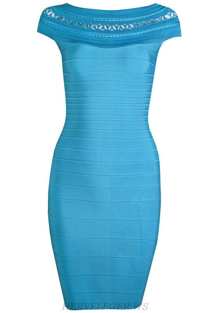 Herve Leger Blue Bardot Crochet Dress