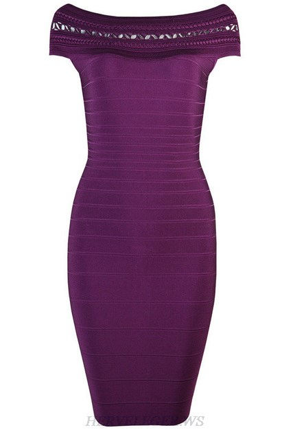 Herve Leger Purple Bardot Crochet Dress