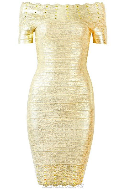Herve Leger Gold Bardot Embellished Woodgrain Foil Print Dress
