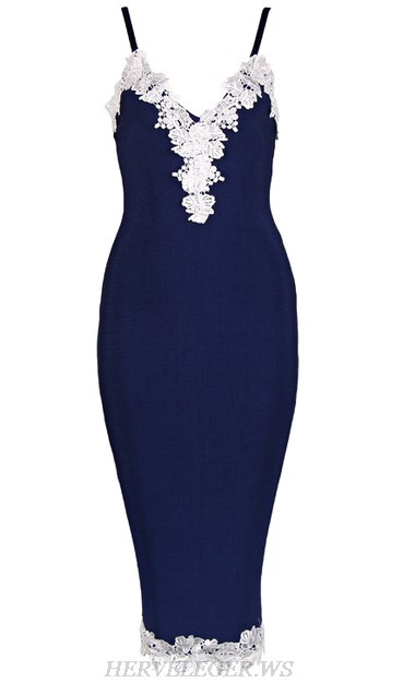 Herve Leger Blue White Crochet Applique Dress