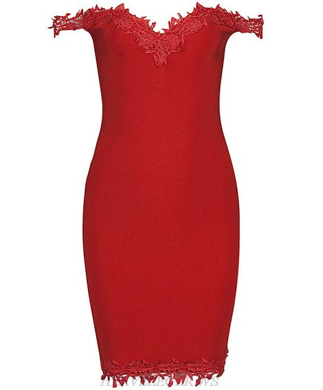 Herve Leger Red Crochet Embellished Bardot Dress