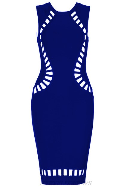 Herve Leger Blue Cut Out Detail Dress