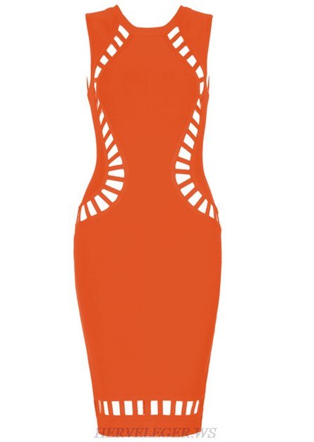 Herve Leger Orange Cut Out Detail Dress