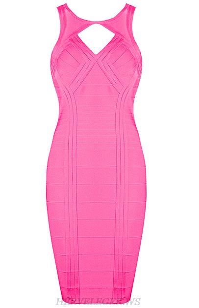 Herve Leger Hot Pink Cut Out Front Dress