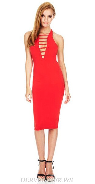 Herve Leger Red Cut Out Plunge V Neck Dress