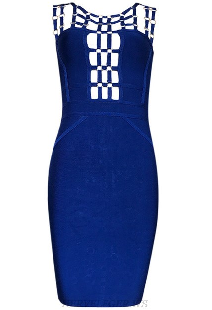 Herve Leger Blue Embellished Strap Dress