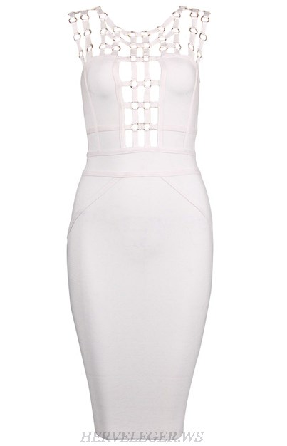 Herve Leger White Embellished Strappy Dress