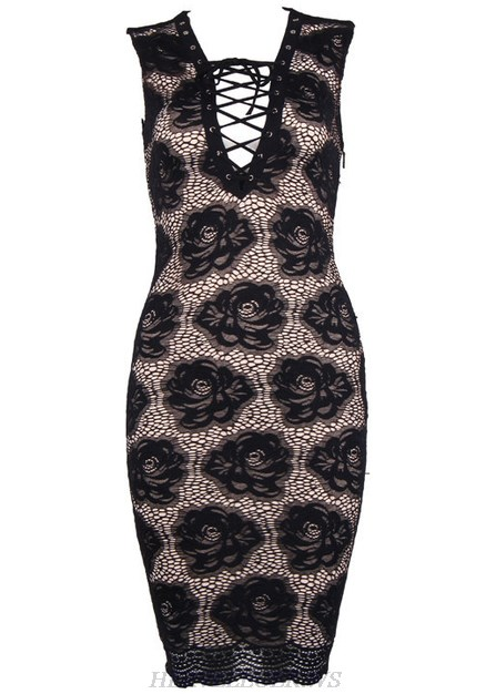 Herve Leger Black V Neck Floral Crochet Lace Up Dress