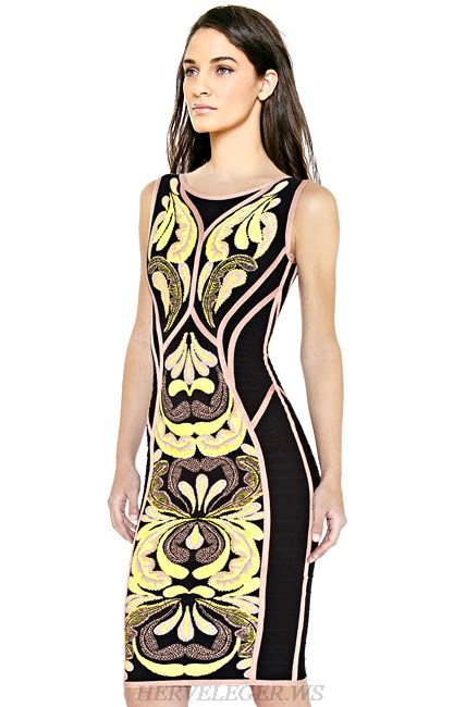 Herve Leger Yellow Nude And Black Floral Print Dress