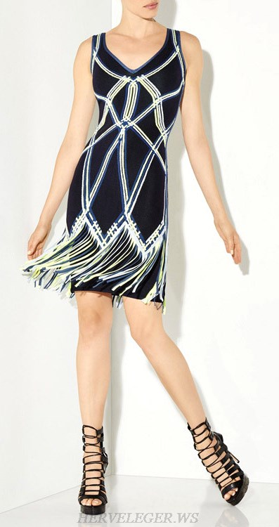 Herve Leger Blue Yellow And White V Neck Fringe Dress