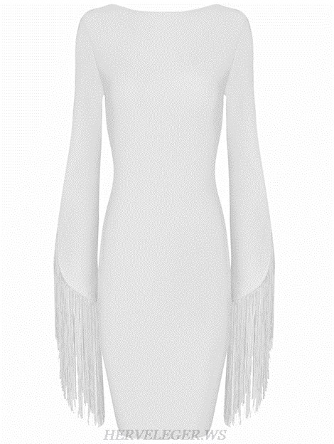 Herve Leger White Fringed Sleeves Backless Dress