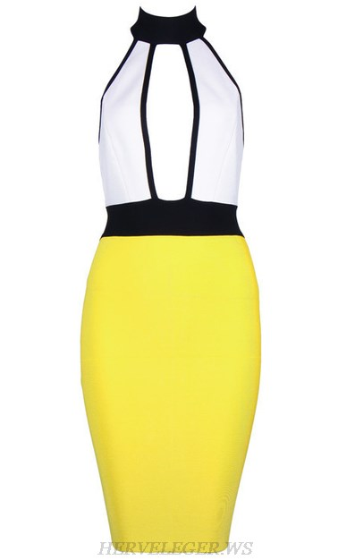 Herve Leger Yellow And White Halter Colorblock Dress