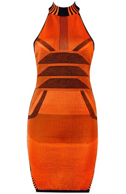 Herve Leger Orange Halter Geometric Dress
