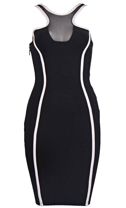 Herve Leger Black And White Halter Mesh Dress