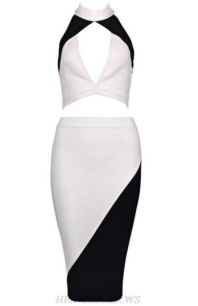 Herve Leger Black And White Colorblock Halter Two Piece Dress