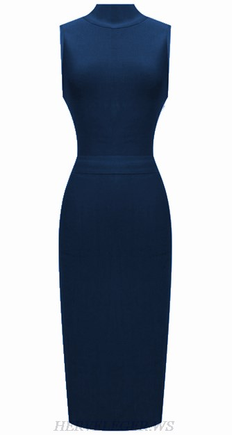 Herve Leger Blue High Neck Dress