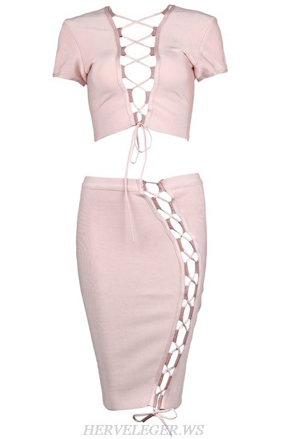Herve Leger Pink V Neck Lace Up Two Piece Dress