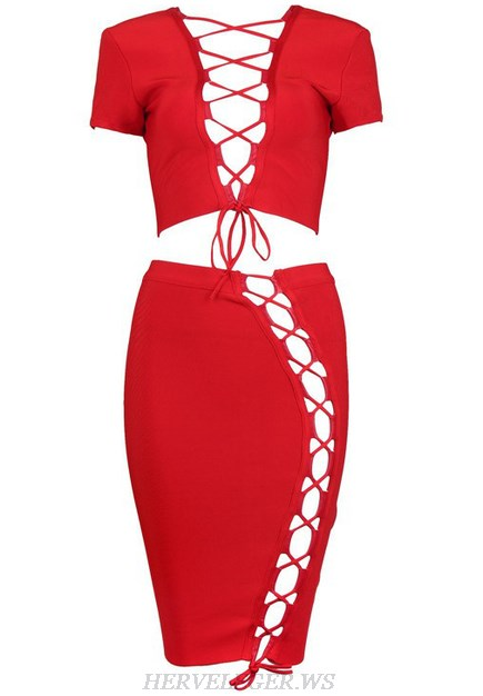 Herve Leger Red V Neck Lace Up Two Piece Dress