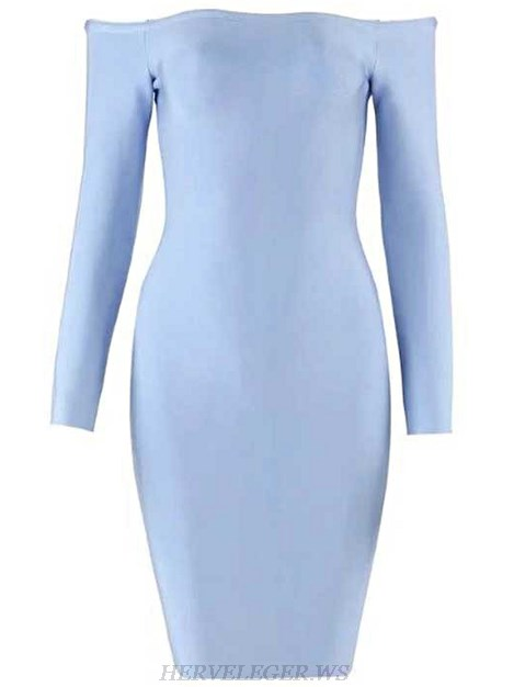 Herve Leger Blue Long Sleeve Bardot Dress