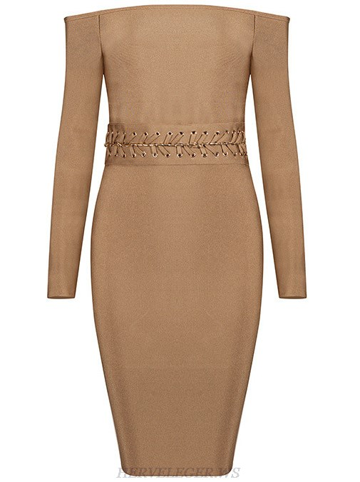 Herve Leger Brown Long Sleeve Bardot Dress