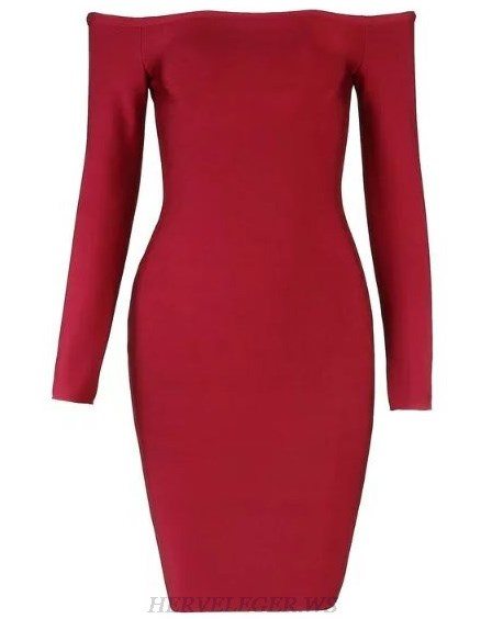 Herve Leger Burgundy Long Sleeve Bardot Dress