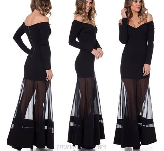 Herve Leger Black Long Sleeve Bardot Evening Gown