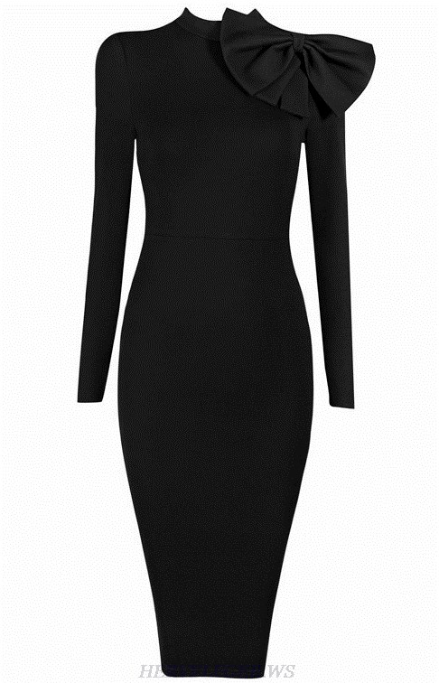 Herve Leger Black Long Sleeve Bow Detail Dress