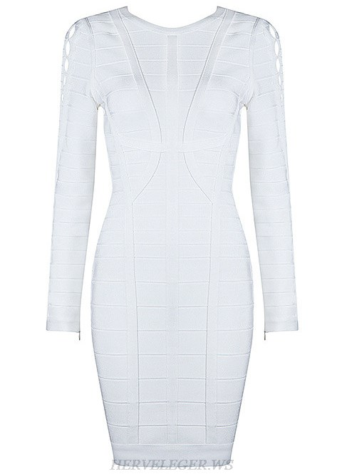 Herve Leger White Long Sleeve Cut Out Detail Dress