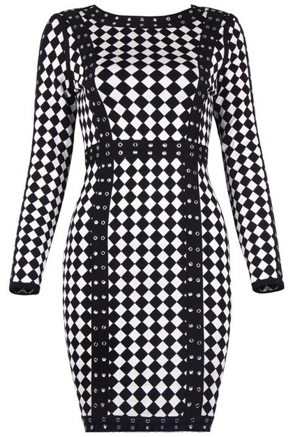Herve Leger Black And White Long Sleeve Diamond Art Print Dress