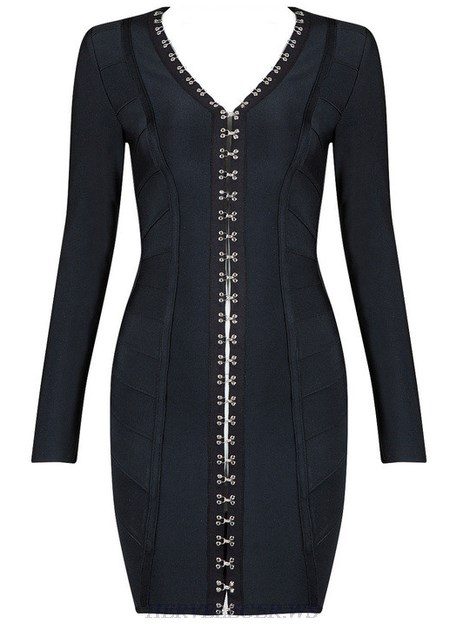 Herve Leger Black V Neck Long Sleeve Embellished Front Dress