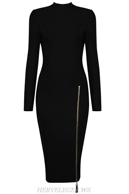 Herve Leger Black Long Sleeve Front Zipper Dress