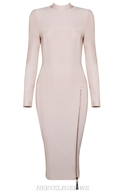 Herve Leger Nude Long Sleeve Front Zipper Dress