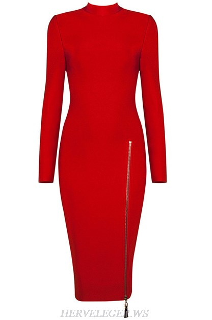 Herve Leger Red Long Sleeve Front Zipper Dress